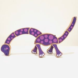 Purple Wooden Dinosaur Grasping Toy